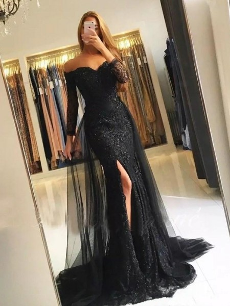 Trumpet/Mermaid Long Sleeves Off-the-Shoulder Sweep/Brush Train Lace Dresses