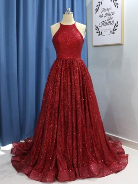 A-Line/Princess Sleeveless Jewel Sweep/Brush Train Ruffles Sequins Dresses