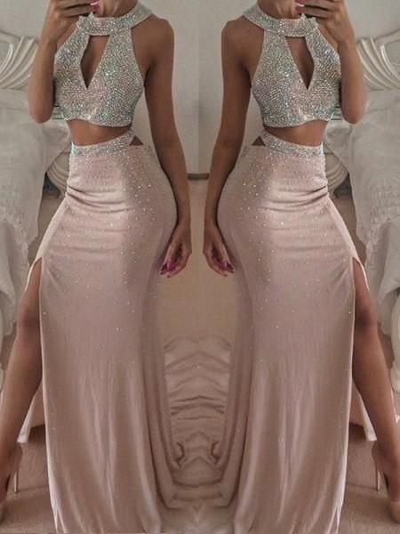 Trumpet/Mermaid Sleeveless Floor-Length Beading Chiffon Two Piece Dresses