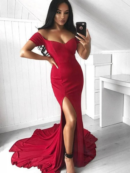 Trumpet/Mermaid Sleeveless Off-the-Shoulder Sweep/Brush Train Elastic Woven Satin Dresses