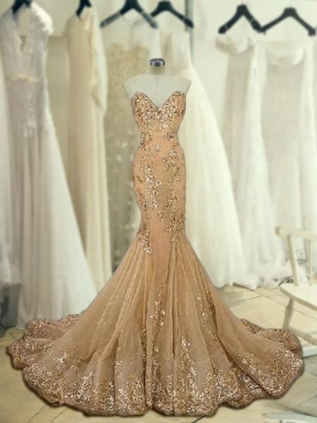 Trumpet/Mermaid Sleeveless Sweetheart Sweep/Brush Train Sequin Tulle Dresses