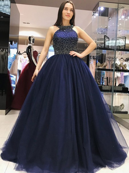 Ball Gown Sleeveless Beading Sweep/Brush Train Tulle Dresses