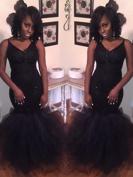 Trumpet/Mermaid Sleeveless V-neck Floor-Length Sequin Tulle Dresses