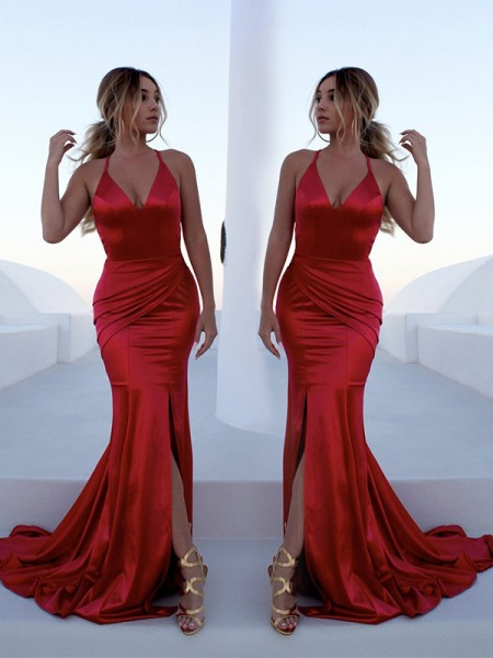Trumpet/Mermaid Sleeveless Ruffles Sweep/Brush Train Satin Dresses