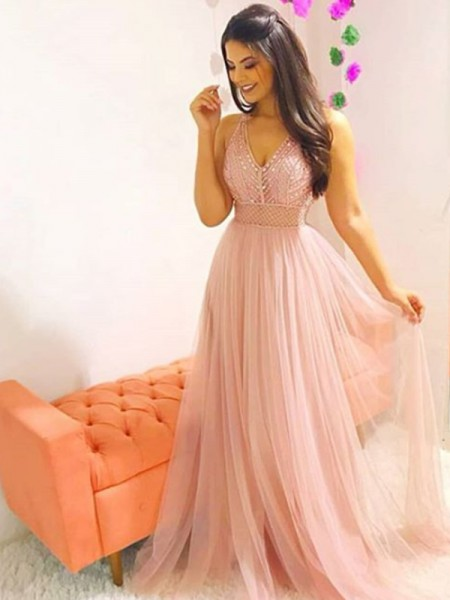 A-Line/Princess Sleeveless Floor-Length V-neck Crystal Tulle Dresses