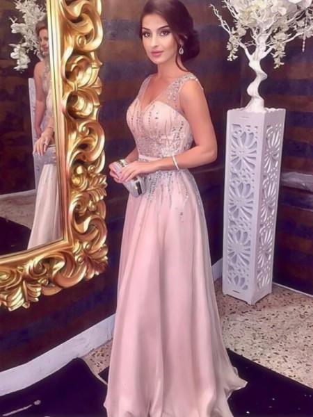 A-Line/Princess Sleeveless V-neck Floor-Length Beading Satin Dresses