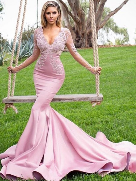 Trumpet/Mermaid Long Sleeves V-neck Sweep/Brush Train Applique Satin Dresses