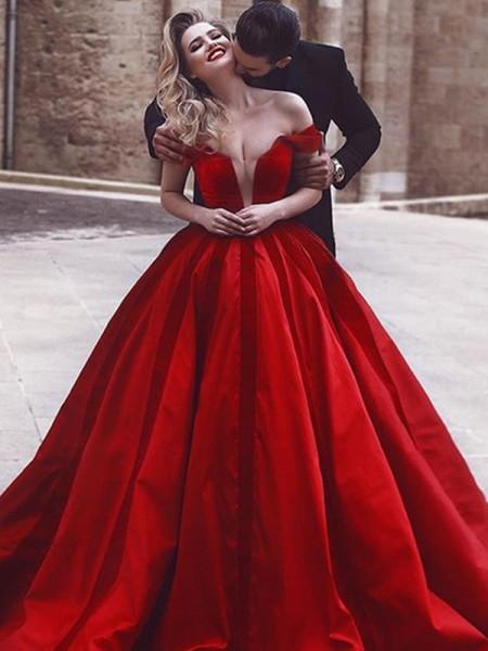 Ball Gown Sleeveless Off-the-Shoulder Ruffles Sweep/Brush Train Satin Dresses