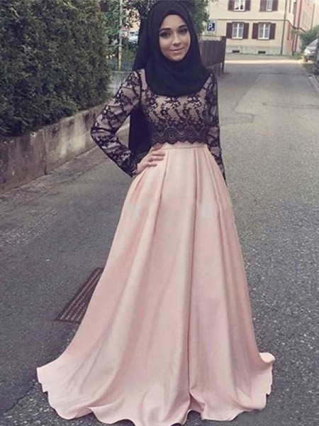 A-Line/Princess Long Sleeves Sweep/Brush Train Scoop Applique Satin Muslim Dresses