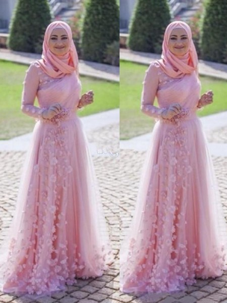 A-Line/Princess Long Sleeves Sweep/Brush Train Scoop Applique Tulle Muslim Dresses