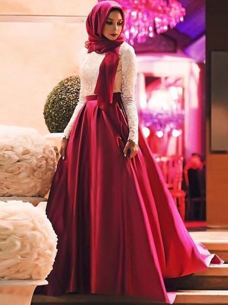 A-Line/Princess Long Sleeves Sweep/Brush Train Scoop Lace Satin Muslim Dresses