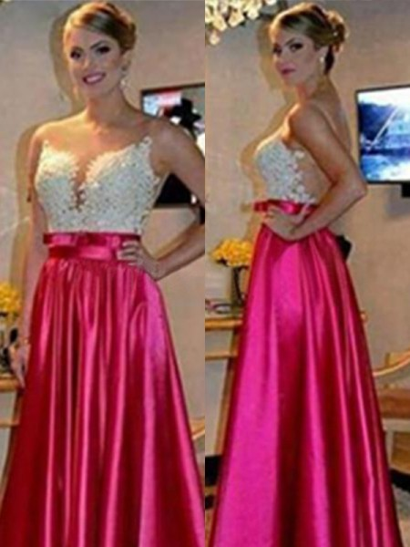 A-Line/Princess Sleeveless Sweetheart Floor-Length Applique Satin Dresses