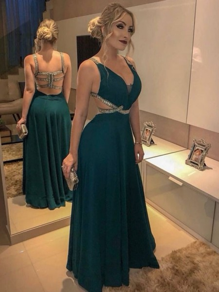A-Line/Princess Sleeveless Floor-Length V-neck Beading Dresses with Chiffon
