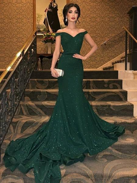 Trumpet/Mermaid Sleeveless Off-the-Shoulder Sweep/Brush Train Sequins Dresses