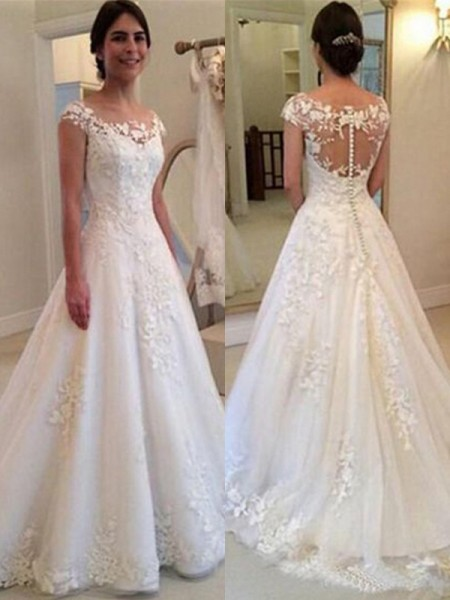 51a4a3187b0 A-Line Princess Scoop Sweep Brush Train Sleeveless Lace Wedding Dresses  with Tulle