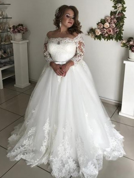 A-Line/Princess Off-the-Shoulder Long Sleeves Sweep/Brush Train Lace Wedding Dresses with Tulle