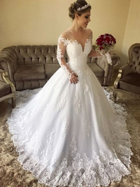 Ball Gown Off-the-Shoulder Long Sleeves Sweep/Brush Train Lace Wedding Dresses with Tulle