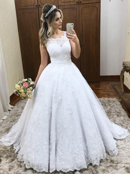 Ball Gown Scoop Sweep/Brush Train Sleeveless Lace Wedding Dresses with Satin
