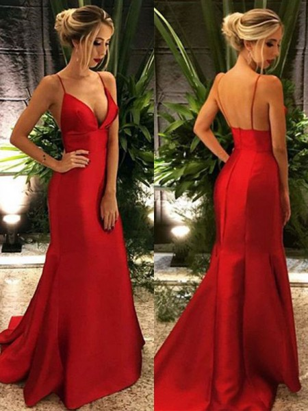 Trumpet/Mermaid Spaghetti Straps Sweep/Brush Train Sleeveless Ruffles Dresses with Satin