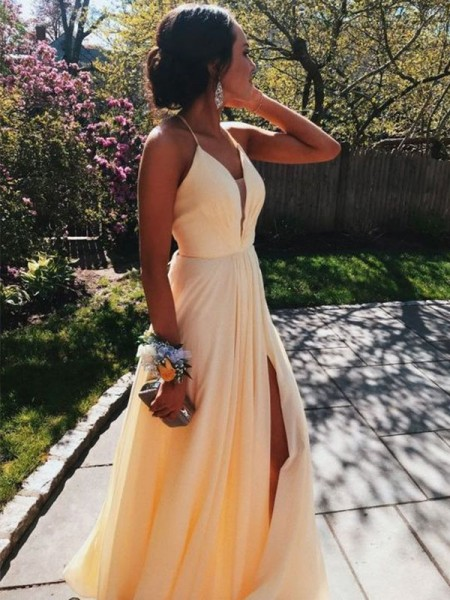 A-Line/Princess Sleeveless Floor-Length V-neck Ruffles Dresses with Chiffon