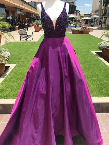A-Line/Princess Sleeveless Floor-Length V-neck Beading Dresses with Satin