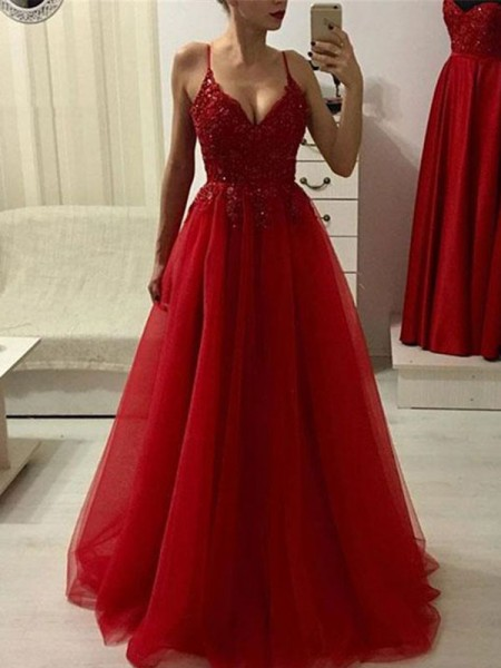 A-Line/Princess Spaghetti Straps Sleeveless Floor-Length Applique Dresses with Tulle