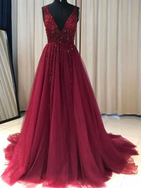 A-Line/Princess V-neck Sweep/Brush Train Sleeveless Ruffles Dresses with Tulle