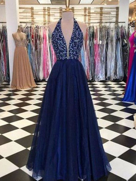 A-Line/Princess Halter Sleeveless Floor-Length Beading Dresses with Tulle
