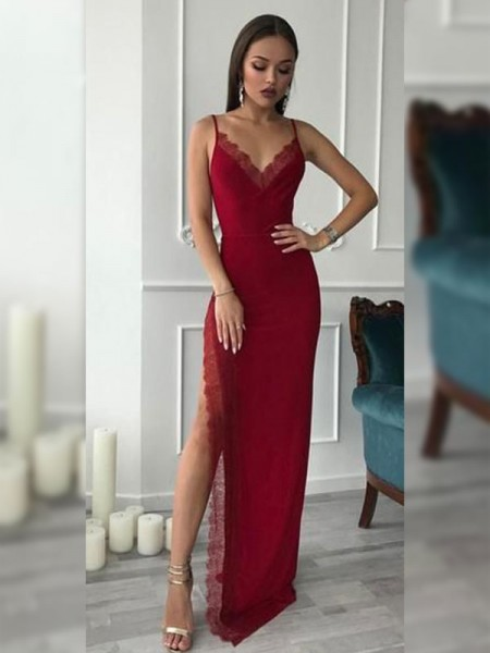 Sheath/Column Sleeveless Floor-Length V-neck Lace Dresses with Chiffon