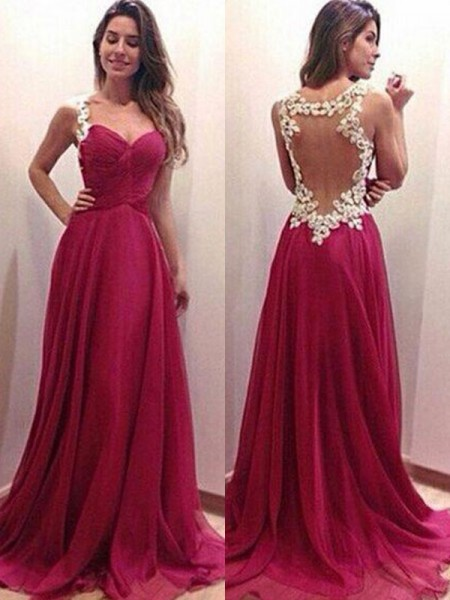 A-Line/Princess Sweetheart Sweep/Brush Train Sleeveless Applique Dresses with Chiffon