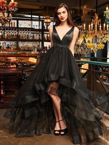 A-Line/Princess Sleeveless V-neck Asymmetrical Ruffles Organza Dresses