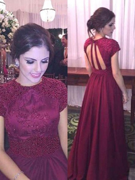 A-Line/Princess Short Sleeves Sheer Neck Floor-Length Beading Dresses with Satin