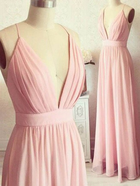 A-Line/Princess Sleeveless Spaghetti Straps Floor-Length Dresses with Chiffon