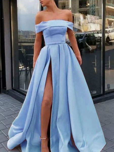 A-Line/Princess Sleeveless Off-the-Shoulder Sweep/Brush Train Ruffles Dresses with Satin