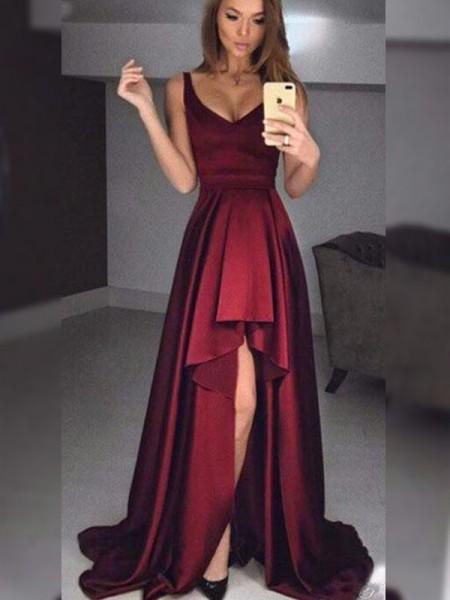 A-Line/Princess Sleeveless Straps Asymmetrical Ruffles Dresses with Satin