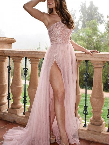 A-Line/Princess Sleeveless One-Shoulder Sweep/Brush Train Beading Dresses with Tulle