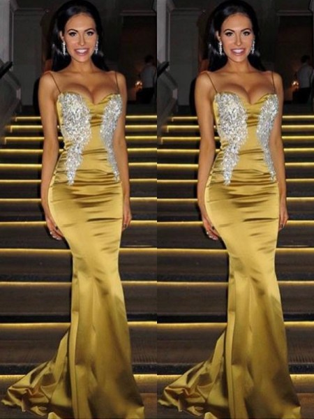 Trumpet/Mermaid Sleeveless Spaghetti Straps Sweep/Brush Train Beading Dresses with Satin