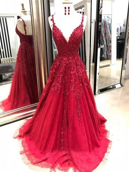 A-Line/Princess Tulle Applique Spaghetti Straps Sweep/Brush Train Sleeveless Dresses