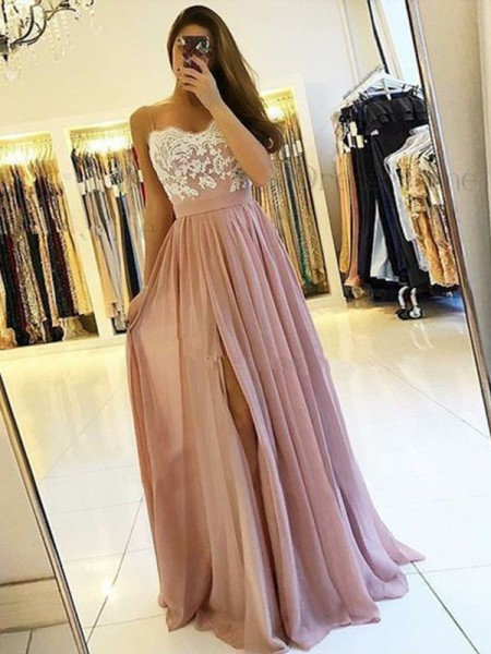 A-Line/Princess Sleeveless Spaghetti Straps Floor-Length Applique Dresses with Chiffon