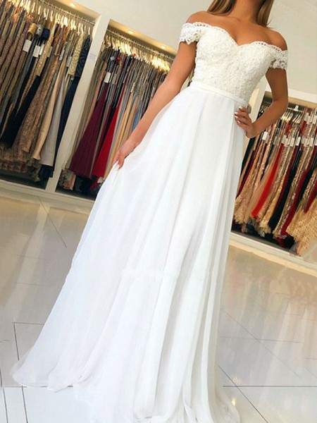 A-Line/Princess Sleeveless Off-the-Shoulder Floor-Length Applique Dresses with Chiffon
