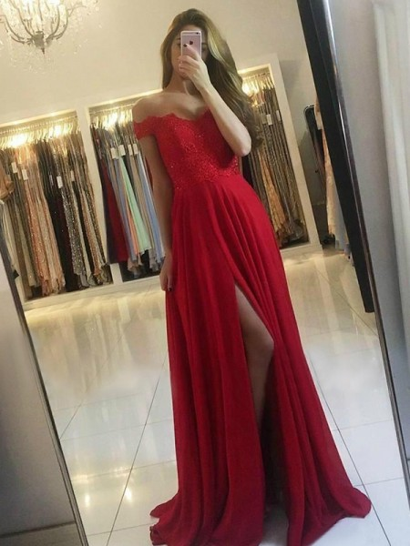 A-Line/Princess Off-the-Shoulder Sweep/Brush Train Sleeveless Beading Dresses with Chiffon