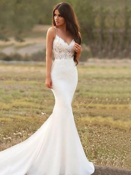 Trumpet/Mermaid Stretch Crepe Applique Spaghetti Straps Sleeveless Sweep/Brush Train Wedding Dresses