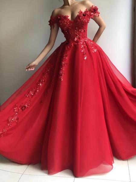 A-Line/Princess Chiffon Off-the-Shoulder Sleeveless Applique Floor-Length Dresses