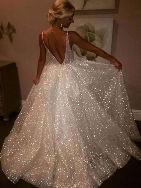 A-Line/Princess Sweep/Brush Train Sleeveless V-neck Sequin Dresses
