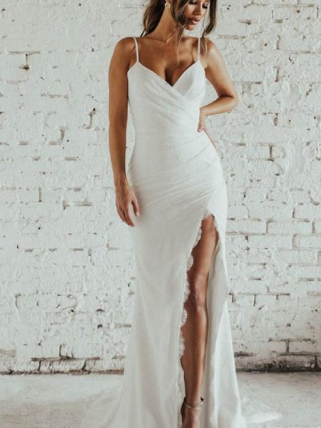 Sheath/Column Spaghetti Straps Ruched Sleeveless Spandex Sweep/Brush Train Wedding Dresses