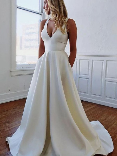 A-Line/Princess V-neck Satin Ruffles Sleeveless Sweep/Brush Train Wedding Dresses