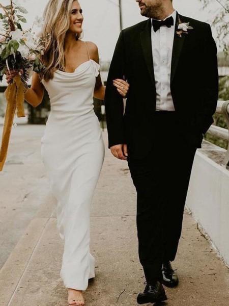 Sheath/Column Sleeveless Spandex Spaghetti Straps Ruched Sweep/Brush Train Wedding Dresses