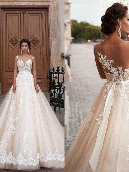 A-Line/Princess Tulle Scoop Applique Sleeveless Court Train Wedding Dresses