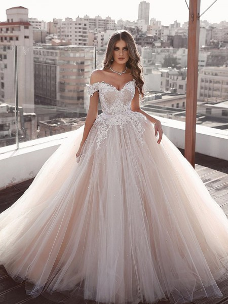 Ball Gown Tulle Off-the-Shoulder Sleeveless Applique Floor-Length Wedding Dresses