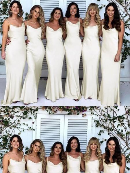 Sheath/Column Spaghetti Straps Ruched Satin Sleeveless Floor-Length Bridesmaid Dresses